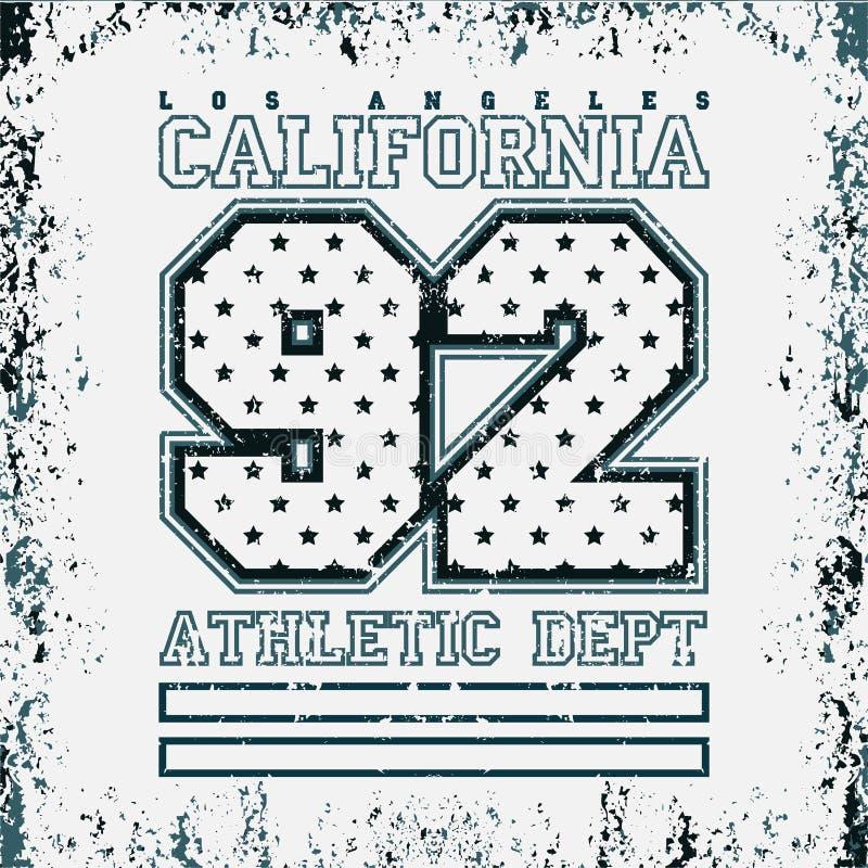 LA do t-shirt, faculdade do esporte, Los Angeles CA, projeto do esporte ilustração stock