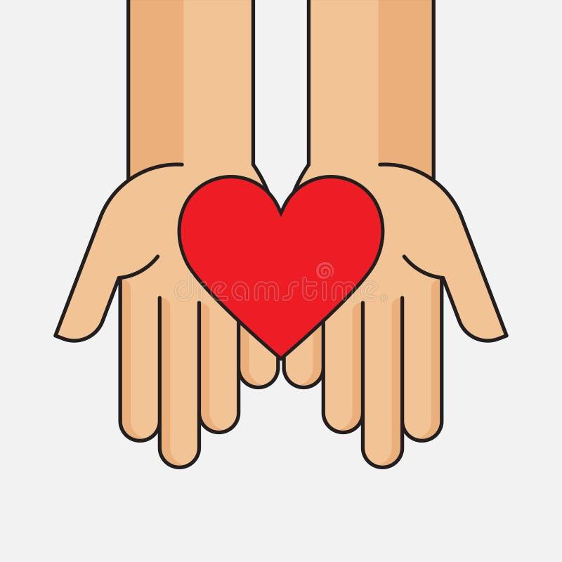 La donation donnent et partagent votre amour à de pauvres personnes illustration de vecteur