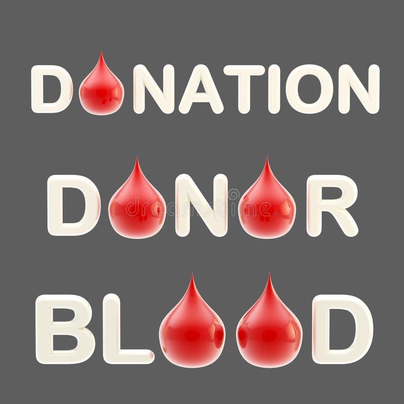 La donation, le donateur, mots de sang avec l'o-lettre stylisée comme sang chutent illustration stock