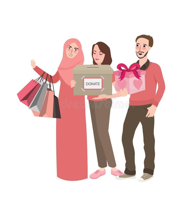 La donation par des amis le groupe de personnes que volontaire apportent des présents de boîte donnent en communauté s'aidant fon illustration libre de droits