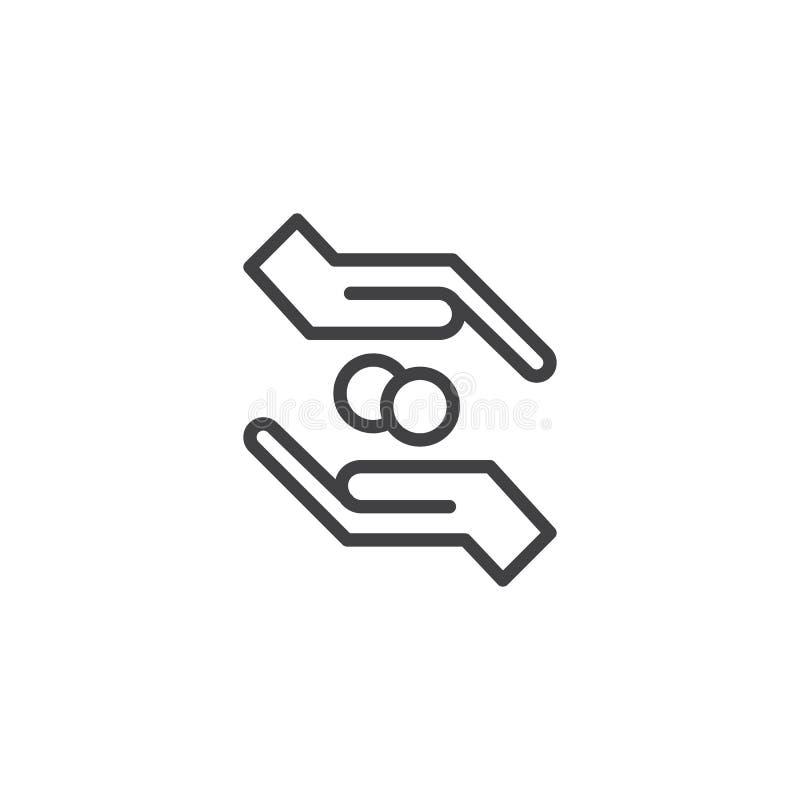La donation remet le vecteur d'icône illustration de vecteur