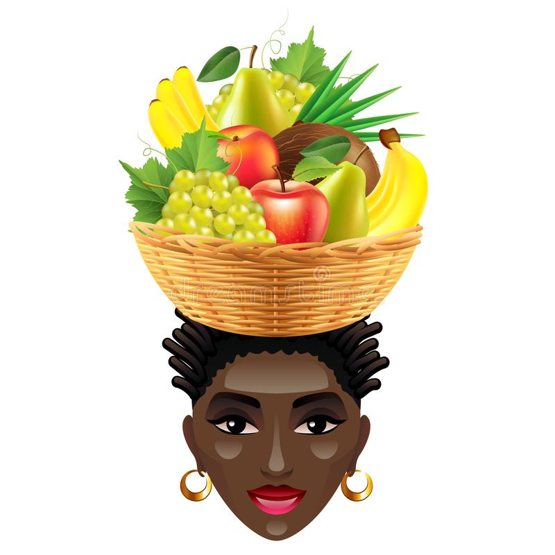 La donna africana con i frutti sulla sua testa ha isolato il vettore illustrazione vettoriale