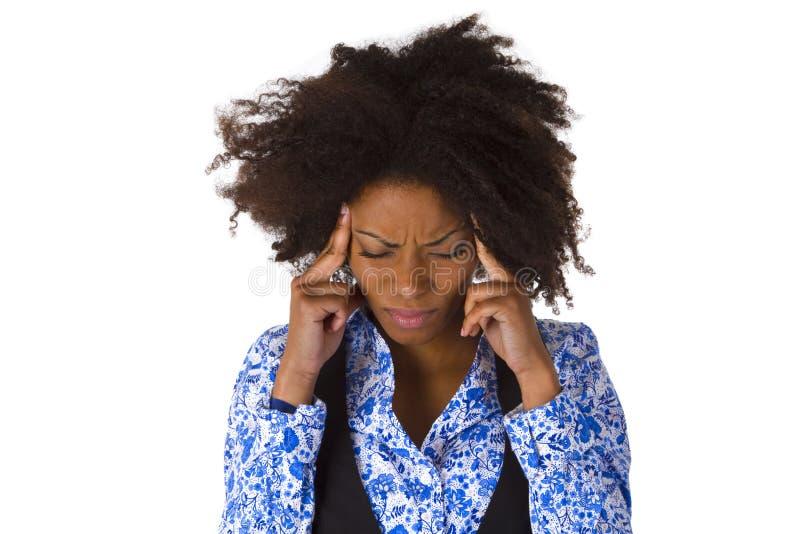 La donna afroamericana si sente male immagine stock