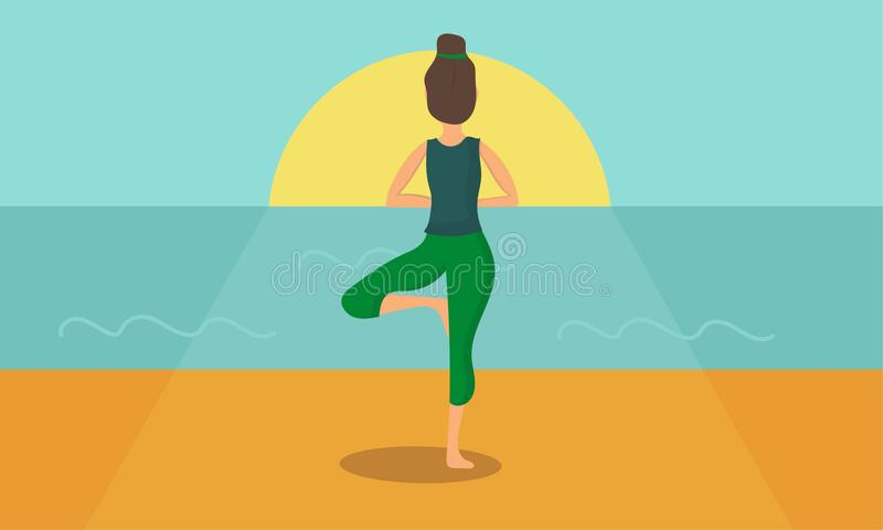 La donna agisce yoga profilata sull'alba Illustrazione di vettore illustrazione vettoriale
