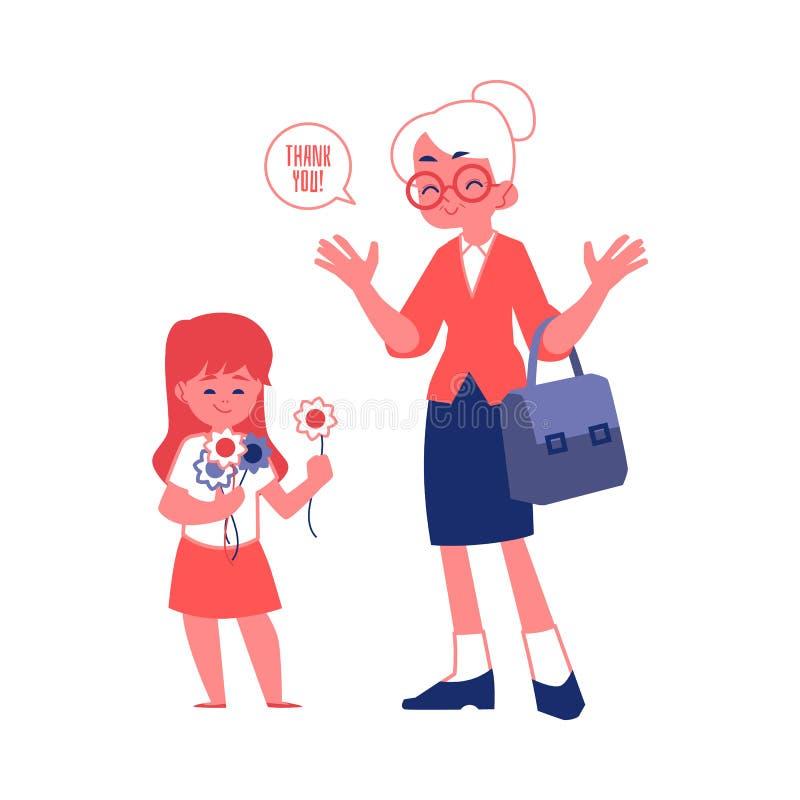 La donna anziana con i buoni modi e l'illustrazione piana di vettore della ragazza gentile hanno isolato illustrazione vettoriale