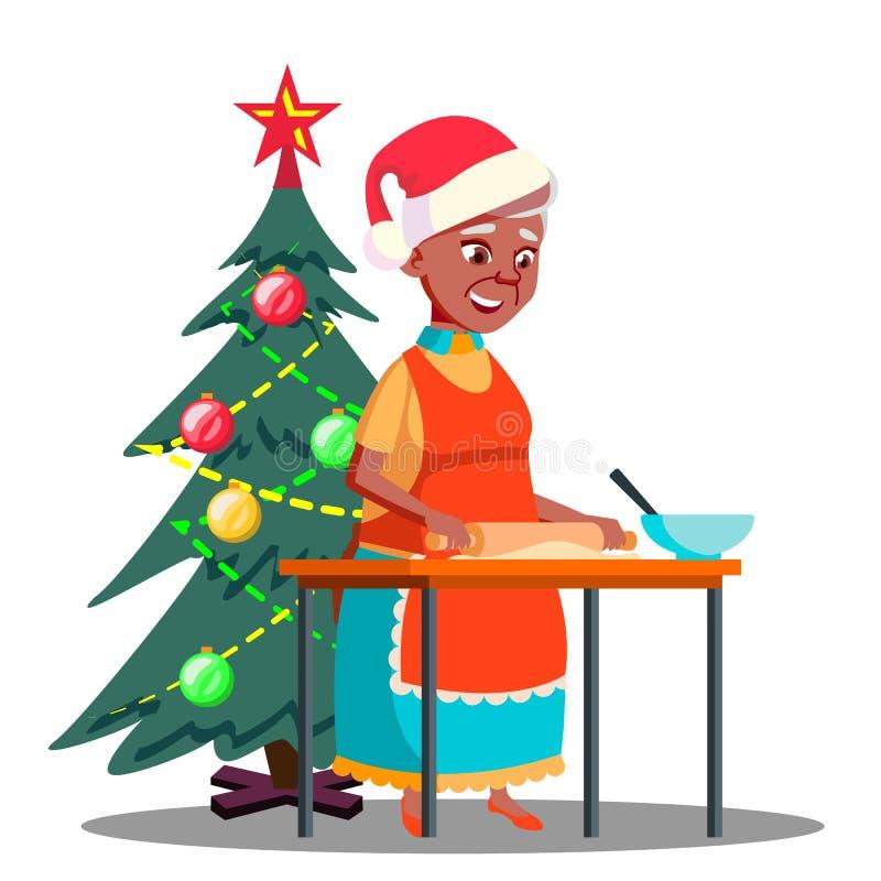 La donna anziana produce i biscotti di Natale nel vettore della cucina Illustrazione isolata illustrazione di stock