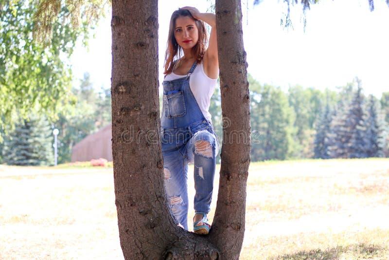 La donna in camici sta fra i tronchi di albero immagine stock libera da diritti