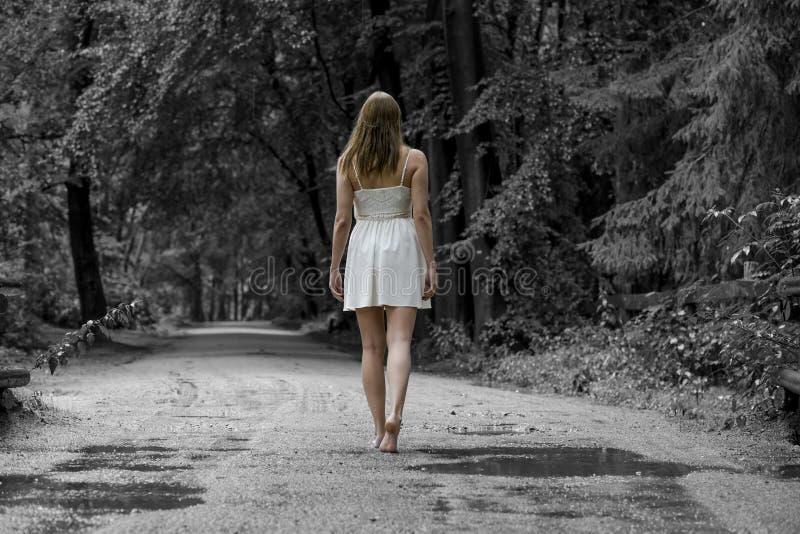 La donna cammina nella foresta immagine stock