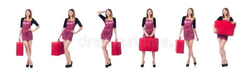 Download La Donna Che Prepara Per La Vacanza Con La Valigia Su Bianco Fotografia Stock - Immagine di ragazza, accumulazione: 117976994