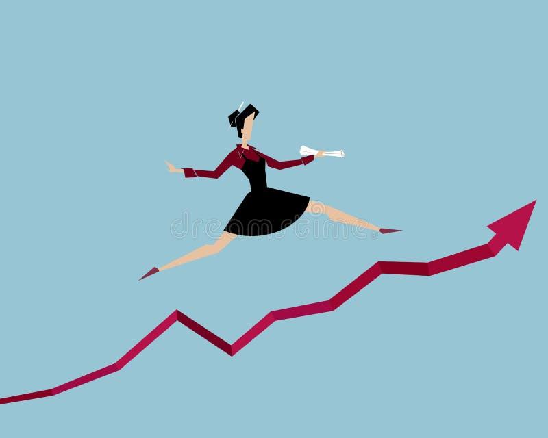 La donna che salta su sopra il grafico di successo illustrazione vettoriale