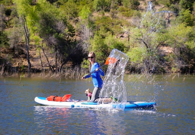 La donna che spruzza l'acqua sul bordo di pagaia sta sul Pagaia-bordo immagini stock
