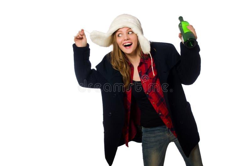 La donna con il cappello nel concetto divertente fotografia stock libera da diritti