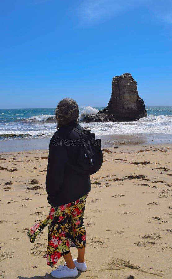 La donna contempla l'oceano vicino a Santa Cruz, CA immagini stock libere da diritti