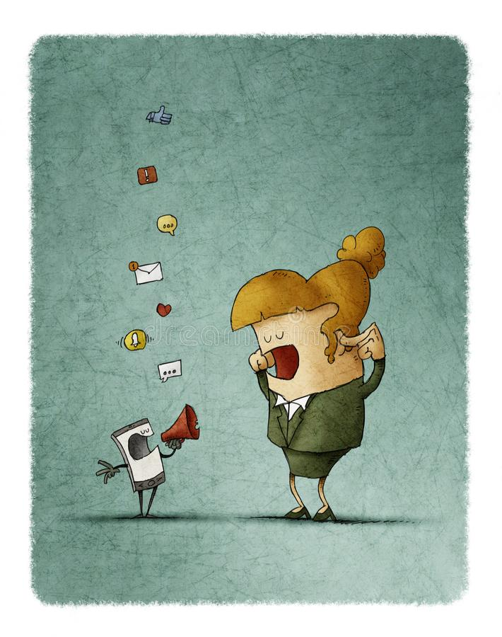 la donna copre le sue orecchie mentre il suo cellulare lo informa tramite un megafono royalty illustrazione gratis