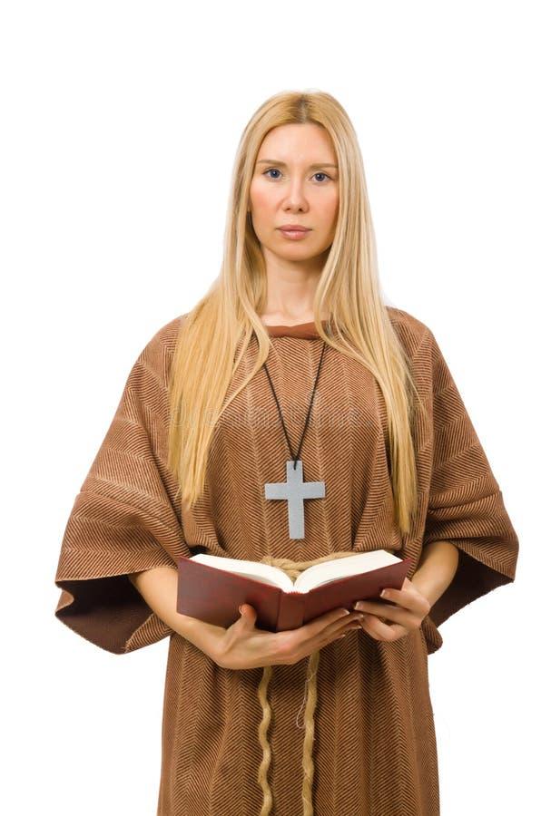 La donna cristiana isolata sul bianco fotografia stock