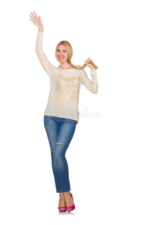 La Donna Dei Capelli Biondi Che Posa In Blue Jeans Isolate ...