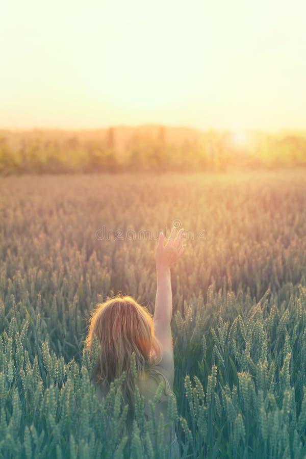La donna dei pantaloni a vita bassa tocca il sole con la sua mano in mezzo alla natura immagini stock libere da diritti