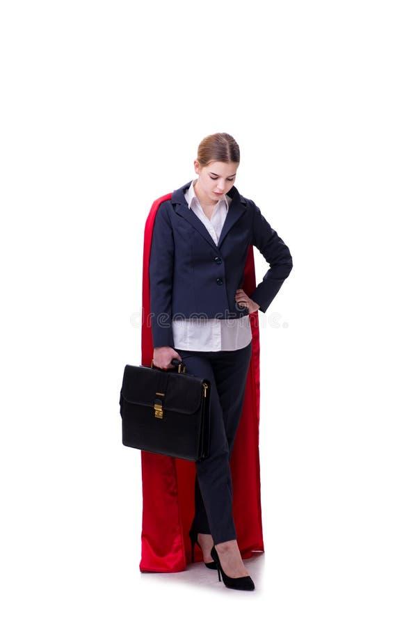 Download La Donna Del Supereroe Isolata Su Fondo Bianco Immagine Stock - Immagine di overconfident, background: 117975909