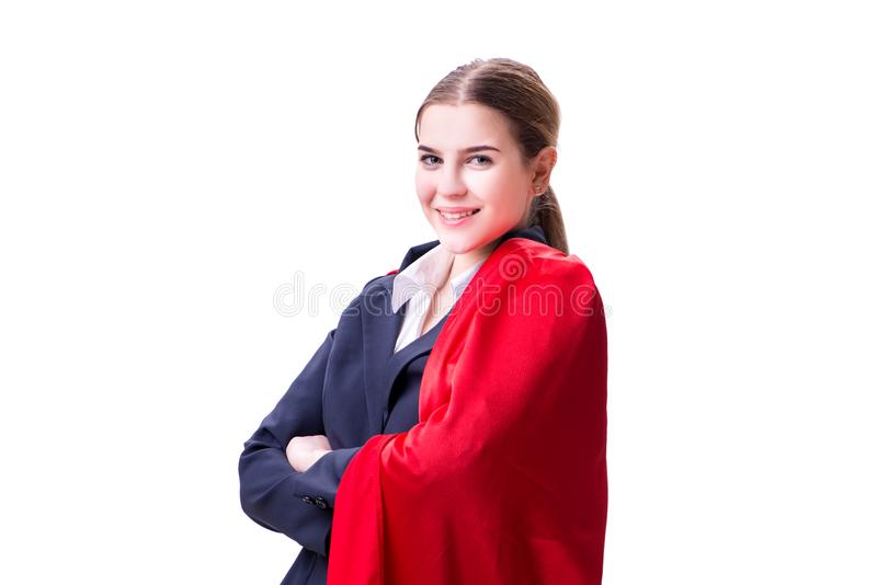 Download La Donna Del Supereroe Isolata Su Fondo Bianco Immagine Stock - Immagine di brave, carriera: 117975963