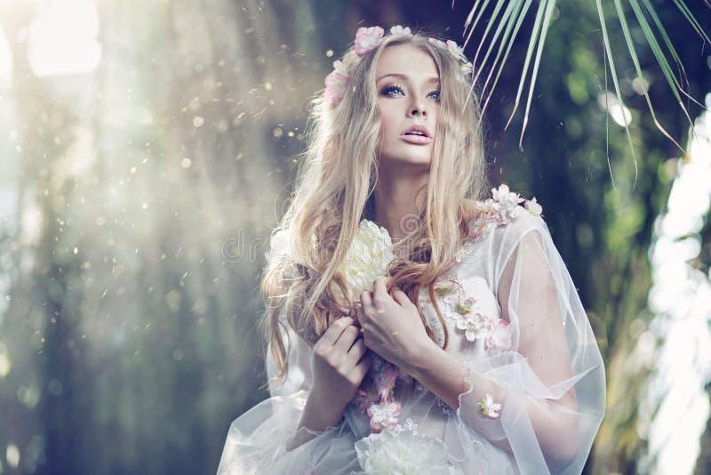 La donna delicata splendida con il sole irradia nei precedenti immagini stock libere da diritti