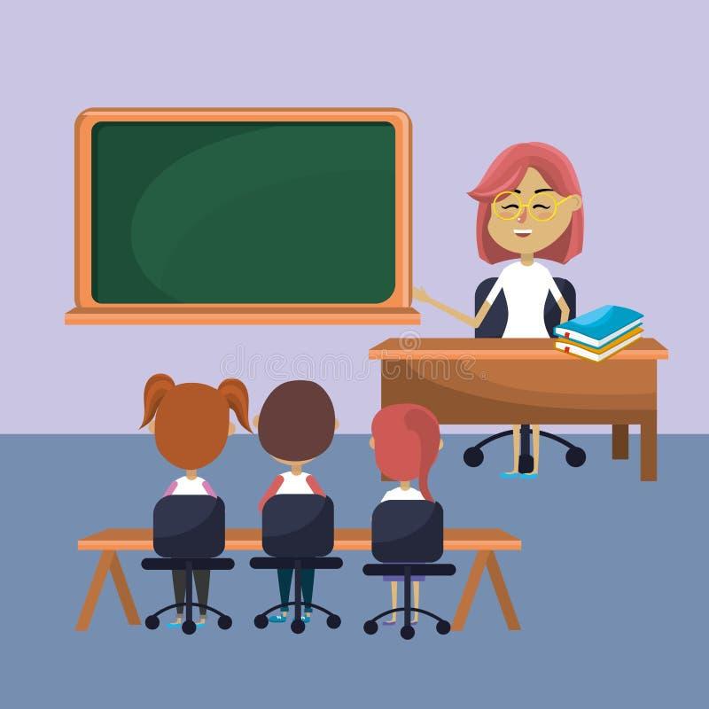 La donna dell'insegnante ha istruito gli studenti illustrazione di stock