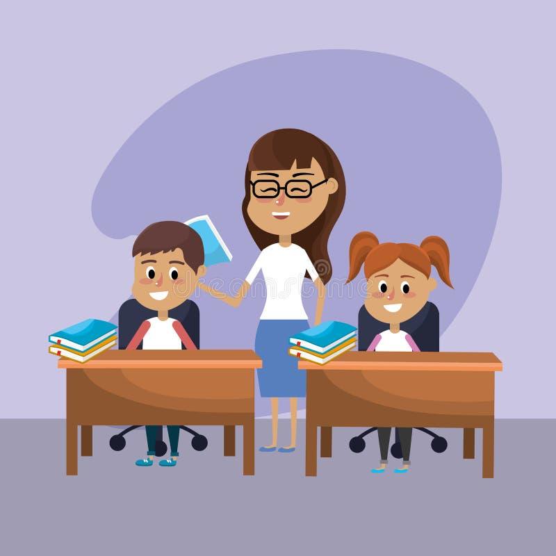 La donna dell'insegnante ha istruito gli studenti royalty illustrazione gratis