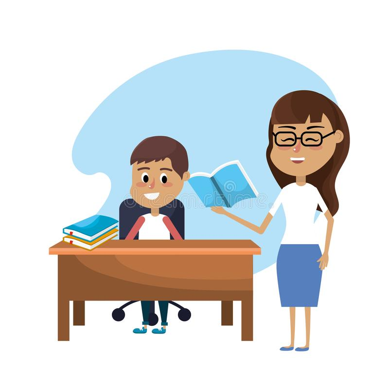 La donna dell'insegnante ha istruito lo studente illustrazione di stock