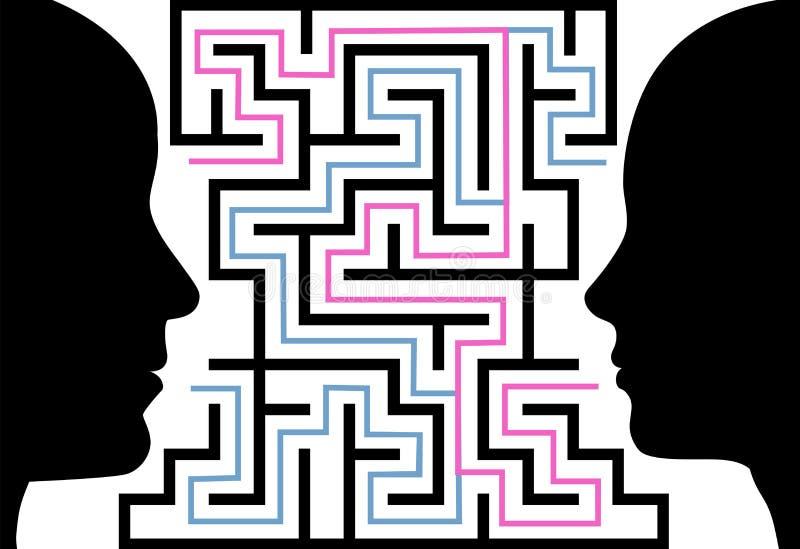 La donna dell'uomo proietta il labirinto di puzzle del fronte illustrazione di stock