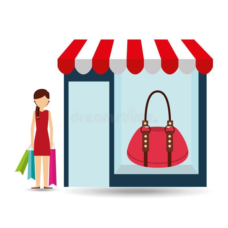 La donna della borsa compra i regali illustrazione vettoriale