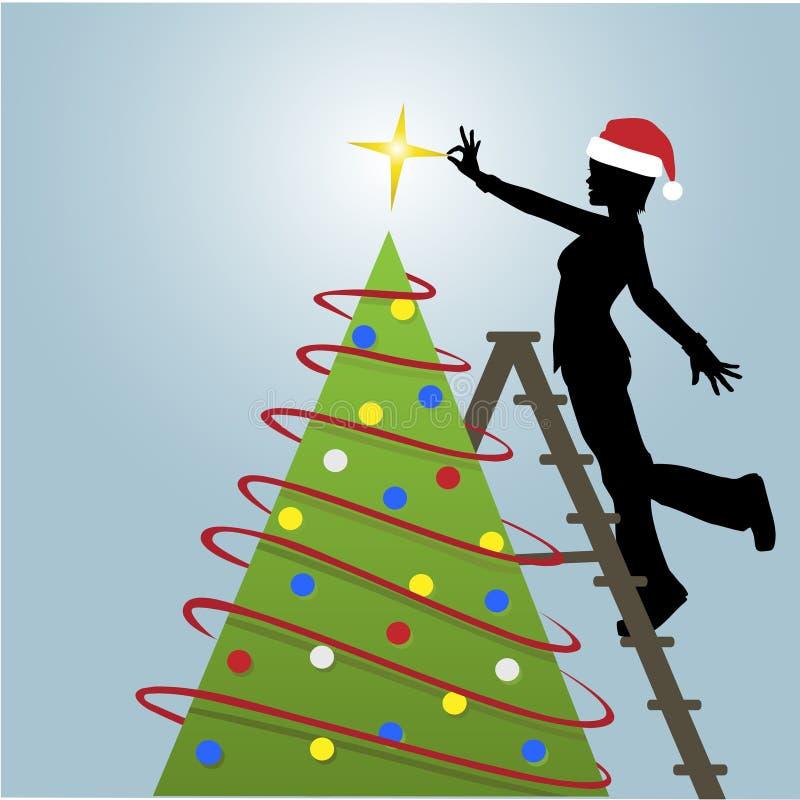 La donna della siluetta decora l'albero di Natale illustrazione di stock