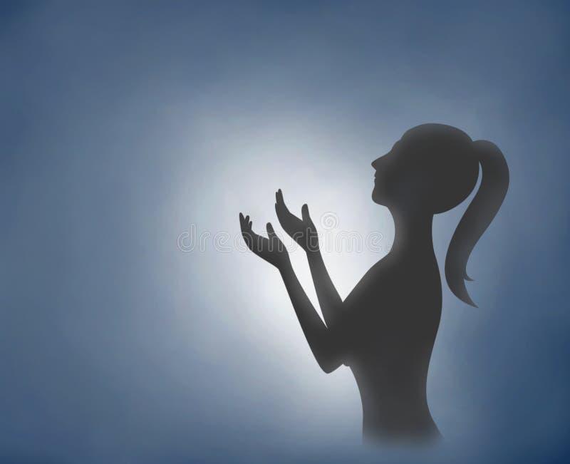 La donna della siluetta della pittura di Digital passa pregare con blu-chiaro illustrazione vettoriale