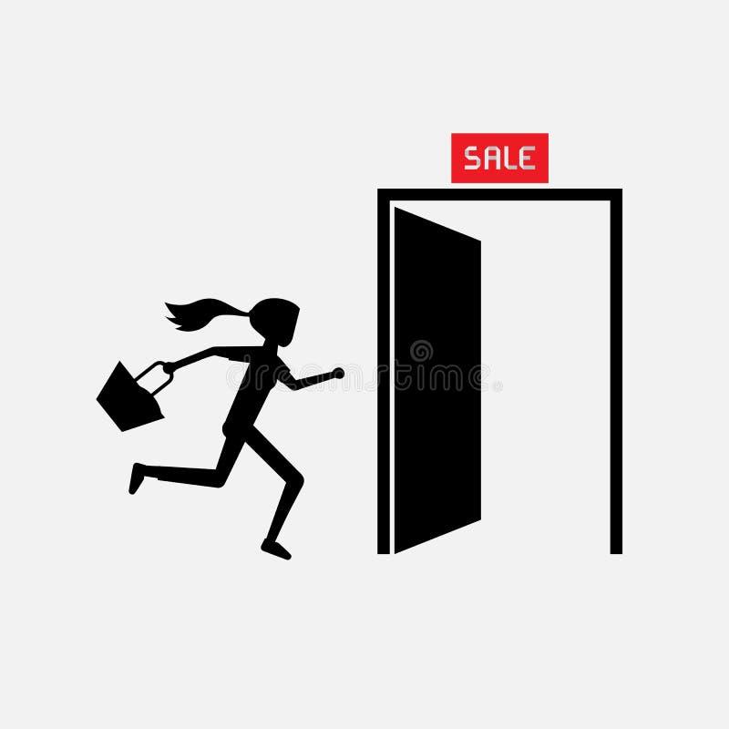 La donna della siluetta porta la borsa che corre alla porta di uscita si precipita fuori per la vendita illustrazione di stock