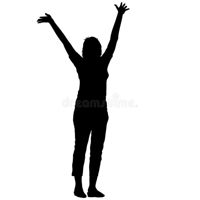 La donna delle siluette del nero ha sollevato le sue mani su fondo bianco Illustrazione di vettore royalty illustrazione gratis