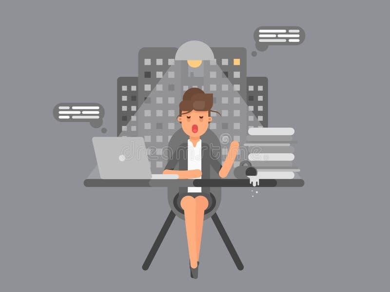 La donna di affari che si siede tutta la notte e che lavora su un computer portatile al suo ufficio con caffè pilled ed è caduto  illustrazione vettoriale