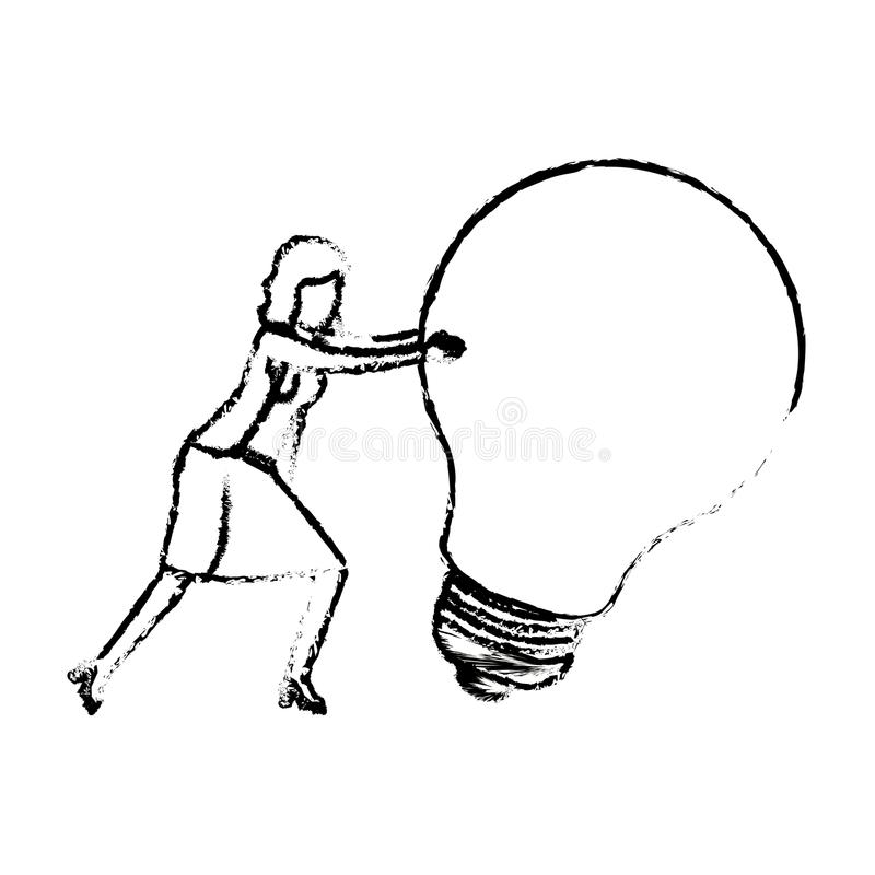 La donna di affari che spinge una grande siluetta della lampadina ha offuscato il monocromio illustrazione vettoriale
