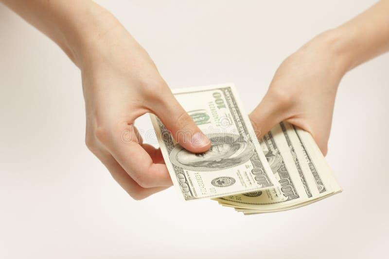 La donna di affari conta i soldi immagine stock