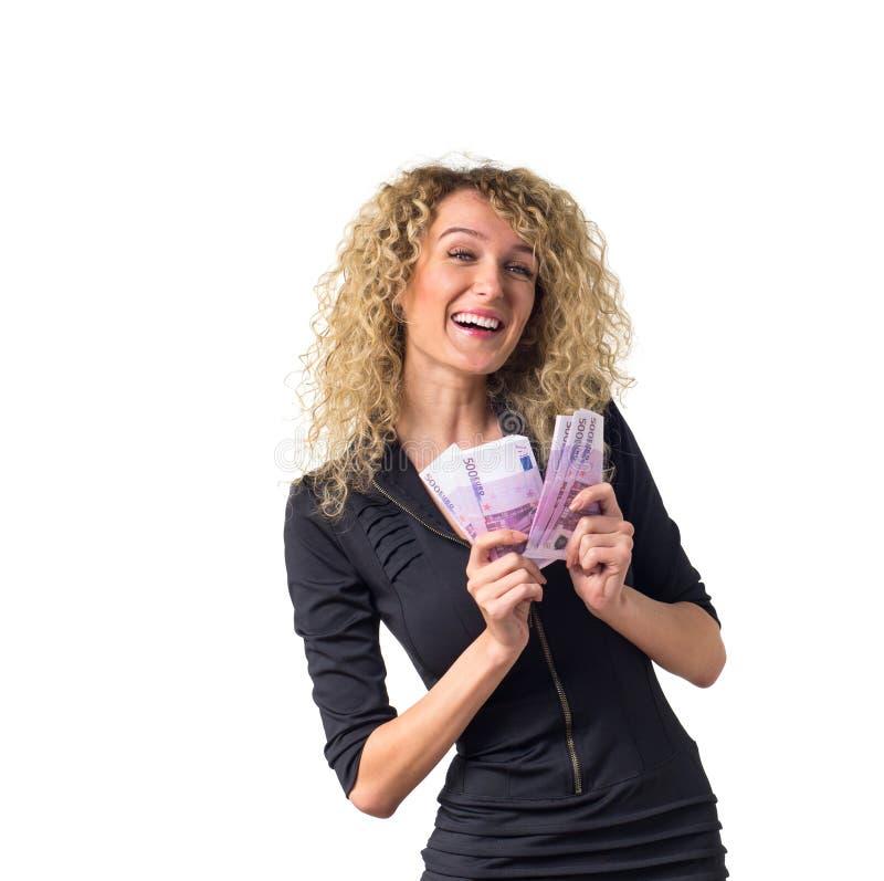 La donna di affari conta i soldi e la risata immagine stock libera da diritti
