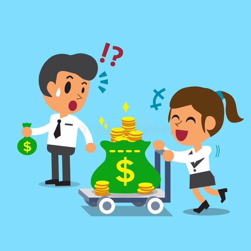 La donna di affari del fumetto che spingono il carrello dei soldi e l'uomo d'affari che tiene i piccoli soldi insaccano illustrazione vettoriale