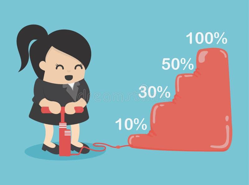 La donna di affari fa più reddito illustrazione di stock