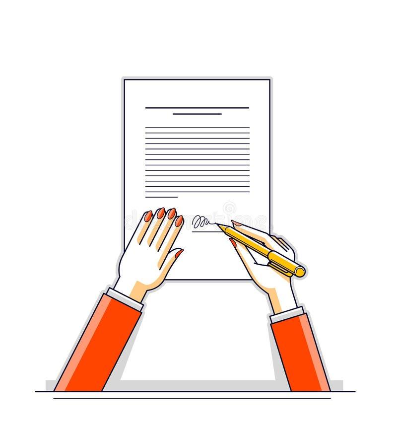 La donna di affari firma contrae il documento cartaceo ufficiale con la guarnizione