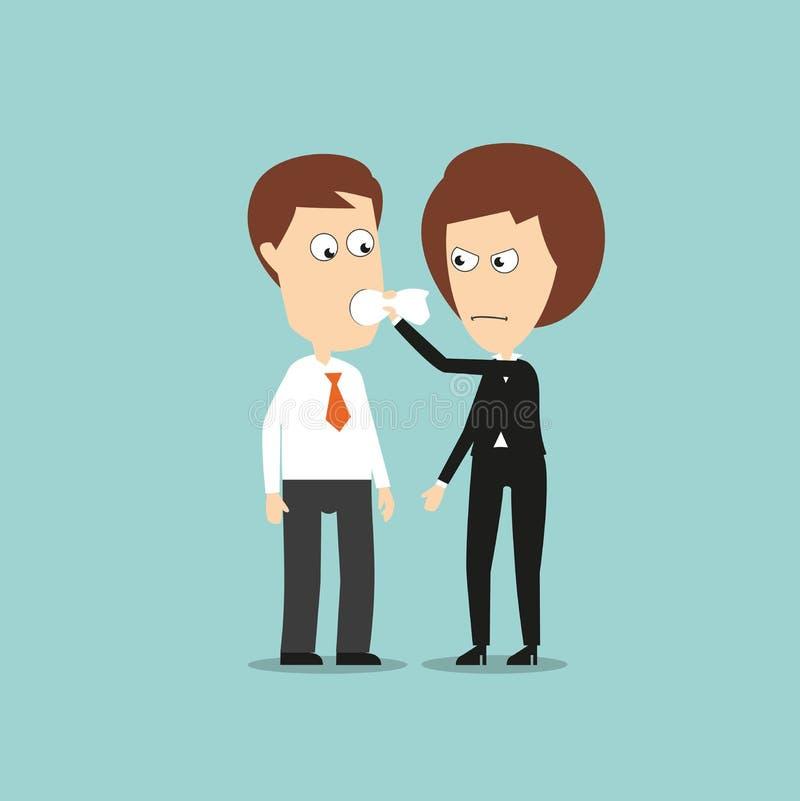 La donna di affari ha messo un bavaglio del panno nella bocca dei colleghi illustrazione vettoriale