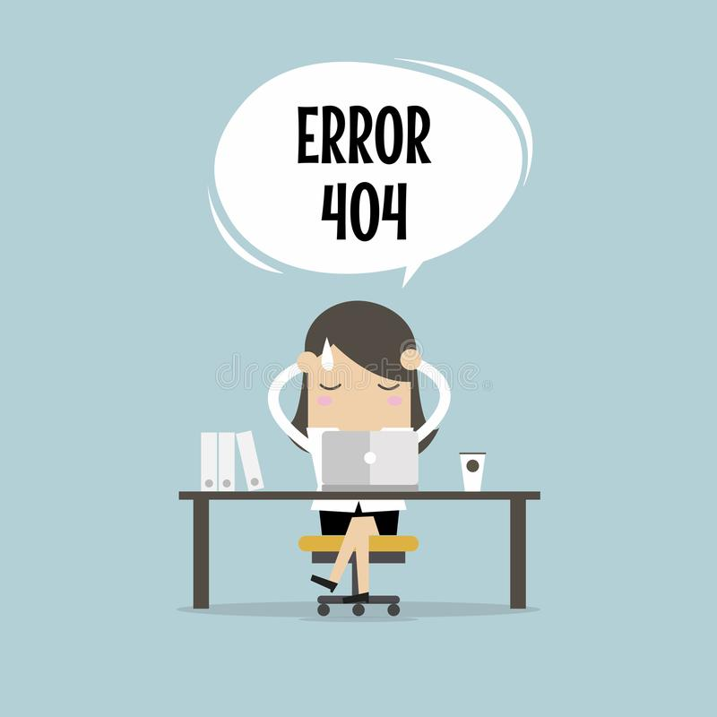 La donna di affari ha un errore di Internet di problema illustrazione vettoriale