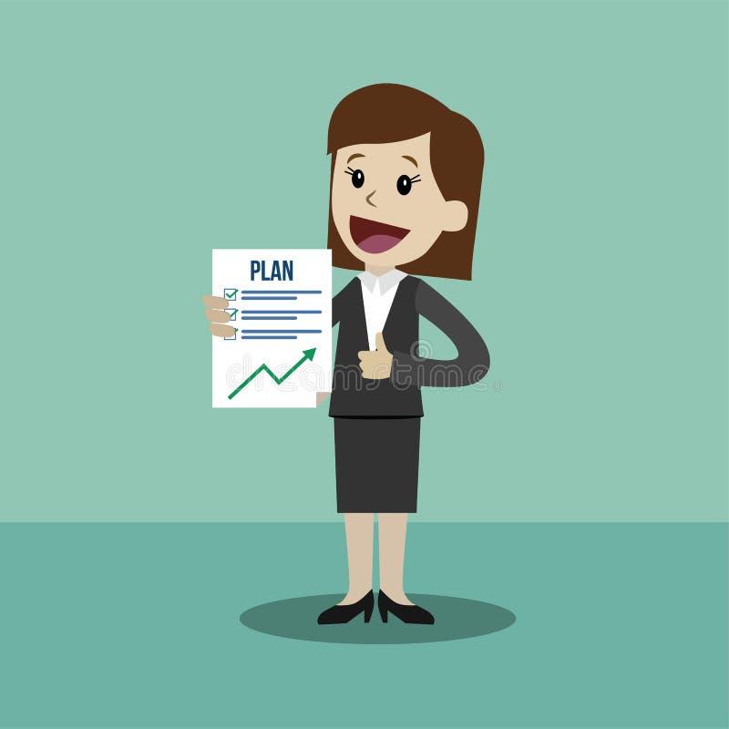 La donna di affari o il responsabile ha un piano Il lavoro riesce finito illustrazione di stock