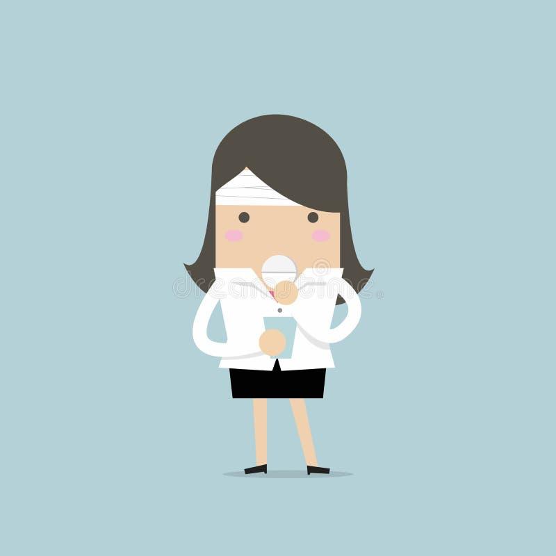 La donna di affari prende una pillola per un'emicrania illustrazione di stock