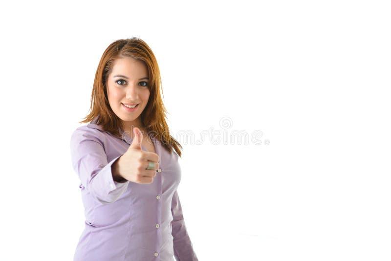 La donna di affari sfoglia su fotografie stock libere da diritti