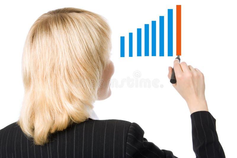 La donna di affari si leva in piedi indietro fotografia stock