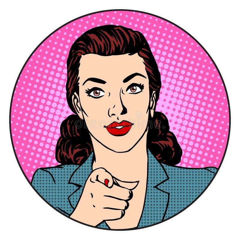 La donna di affari vuole nel concetto di affari del cerchio royalty illustrazione gratis