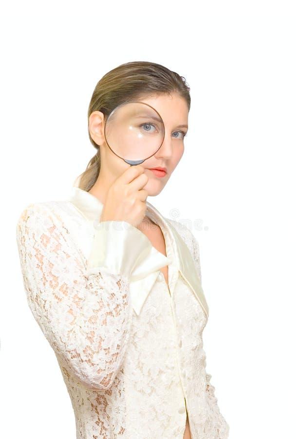 La donna di bellezza vede su voi immagini stock libere da diritti