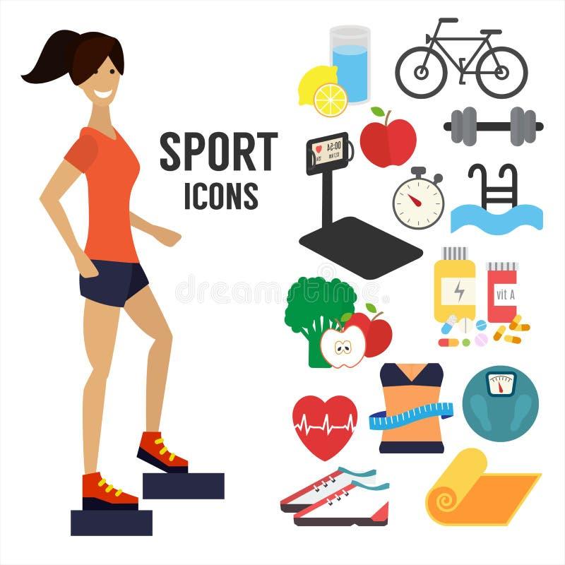 La donna di forma fisica, mette in mostra le icone infographic royalty illustrazione gratis