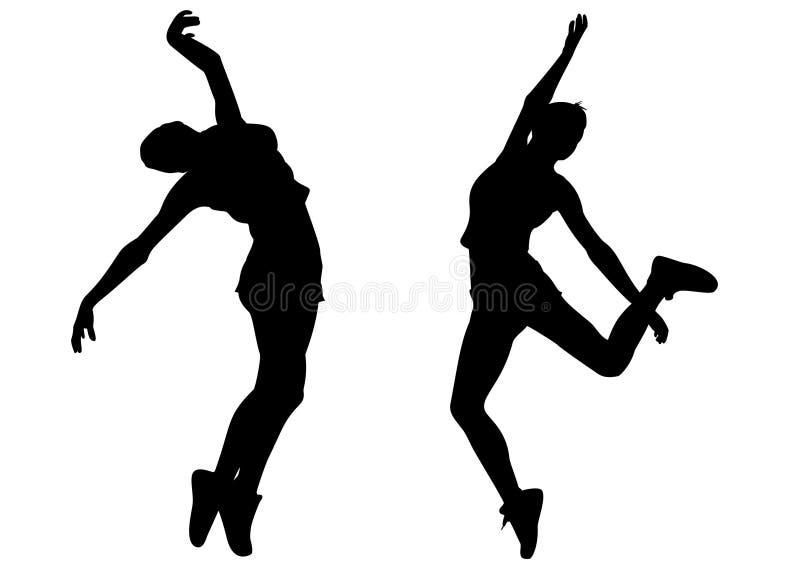 La donna di Hip-hop balla il vettore della siluetta illustrazione di stock